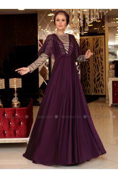 Plum - Fully Lined - Crew neck - Muslim Evening Dress - Selma Sarı Design(110332911)