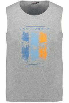 "Adamo Fashion: Tanktop mit gummiertem \""California\""-Print, 7XL, Hellgrau(121717260)"