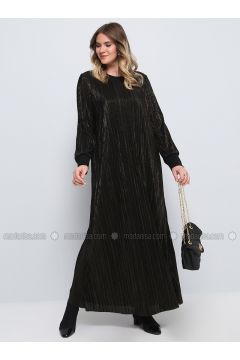 Black - Fully Lined - Crew neck - Muslim Plus Size Evening Dress - Alia(110314627)