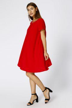 House Of Camellia Kadın O Yaka Kırmızı Elbise(113965789)