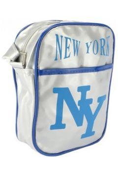Sac Bandouliere Hip Hop Honour Sacoche NY Grise et Bleue streetwear(88491676)