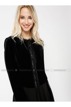 Black - Unlined - Shawl Collar - Jacket - Minimal Moda(110331238)