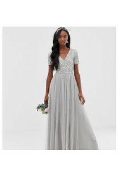 Maya Tall - Bridesmaid - Maxi-Tüllkleid mit V-Ausschnitt und farblich passenden(95028837)