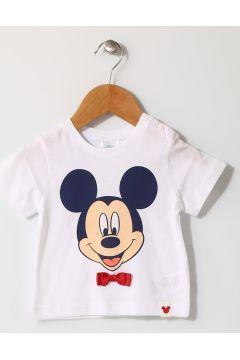 Mammaramma Erkek Mickey Mouse Baskılı Beyaz T-Shırt(113968210)