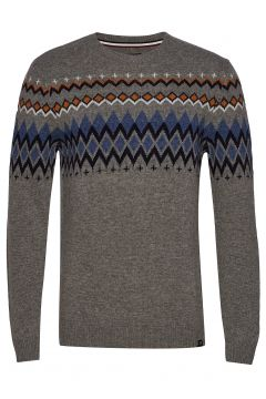 Lambswool Jacquard Knit Strickpullover Rundhals Grau LINDBERGH(113865684)