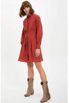 DeFacto Kadın Korse Kemer Detaylı Gömlek Elbise(125934086)