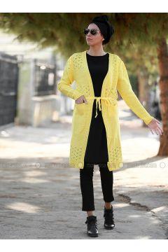 Yellow - Acrylic - Cardigan - Myzen(110333232)