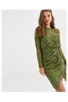 Paper Dolls - Vestitino a portafoglio in pizzo a maniche lunghe oliva-Verde(120326912)
