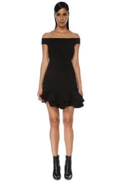 Alexander McQueen Kadın Siyah Düşük Omuzlu Volanlı Mini Triko Elbise XL EU(120498242)