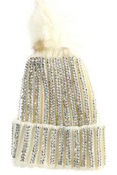 Fashion Friends Taşlı Beyaz Bere(114824826)