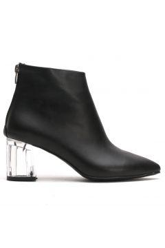 Ayakkabı Modası Siyah Cilt Şeffaf Kadın Bot(110929356)