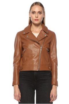 Yves Salomon Kadın Kahverengi Kruvaze Deri Ceket 36 FR(123840945)