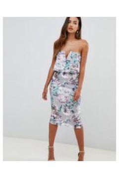 Girl in Mind - Vestito midi a fascia a fiori con barretta a V-Multicolore(120438058)