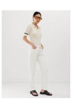 Tomorrow - Jeans dritti vita alta in cotone biologico con passante-Bianco(112835302)