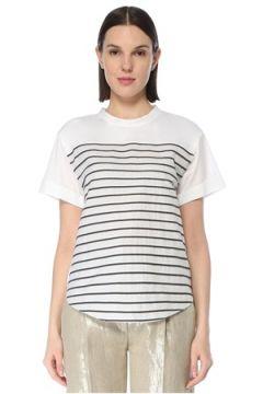 Brunello Cucinelli Kadın Lacivert Beyaz Bisiklet Yaka Şeritli T-shirt S EU(127770395)