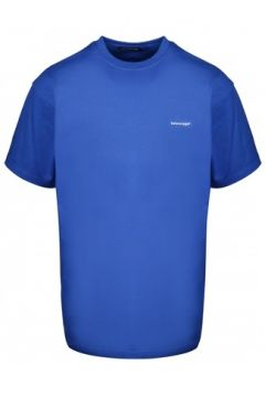 Balenciaga Erkek Mavi Logo Baskılı Oversize T-shirt S EU(114438655)