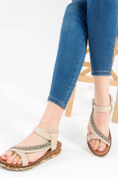 Fox Shoes Bej Kadın Sandalet(116989733)