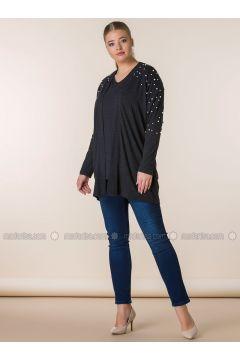 Black - Wool Blend - Plus Size Cardigan - RMG(110323014)