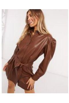 BB Dakota - Vestito in pelle vegan-friendly marrone con cintura(124798343)