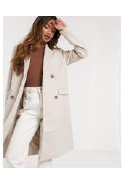 Y.A.S - Cappotto doppiopetto di lana crema con chiusura(121794667)