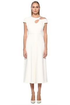 Roland Mouret Kadın Beyaz Asimetrik Kesim Detaylı Midi Elbise 6 US(123319800)