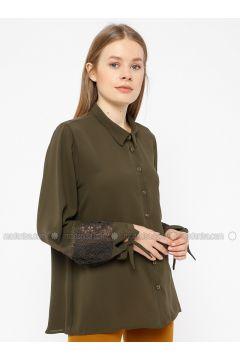 Khaki - Point Collar - Blouses - REPP(110339058)