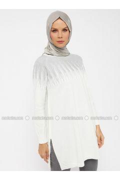 White - Ecru - Metallic - Crew neck -- Tunic - Mustafa Dikmen(110326819)