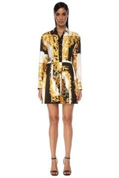 Versace Kadın Barok Desenli Mini İpek Gömlek Elbise 38 IT(120730929)