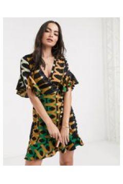 AX Paris - Vestito a portafoglio con stampa rétro-Multicolore(120323088)