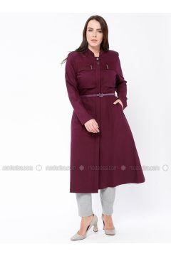 Plum - Crew neck - Plus Size Coat - Butik Neşe(110335614)