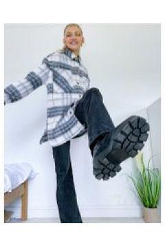 Pieces - Camicia giacca taglio lungo in cotone spazzolato a quadri colore crema-Multicolore(122966430)