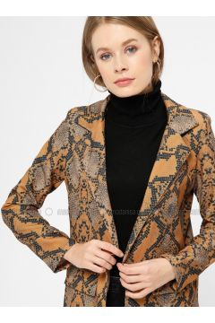 Camel - Multi - Unlined - Shawl Collar - Jacket - Kaktüs(110319018)