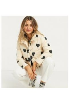 Wednesday\'s Girl: giacca imbottita con stampa a cuori-Crema(122409091)