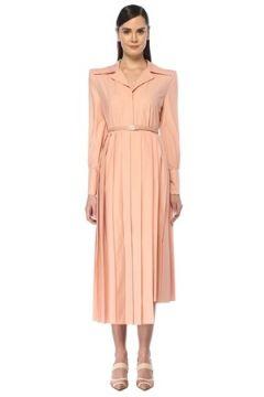 Fendi Kadın Pembe Asimetrik Pilili Kemerli Midi Gömlek Elbise 44 IT(108515961)