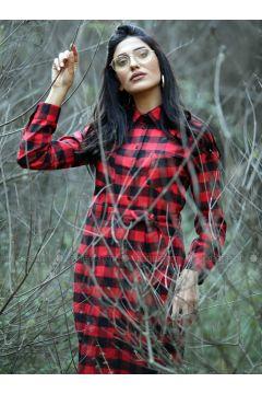 Red - Plaid - Point Collar - Unlined - Dresses - Gizem Kış(110334904)