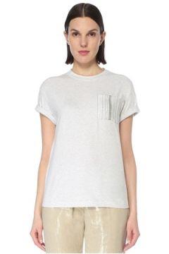 Brunello Cucinelli Kadın Beyaz Zincir Detaylı Cepli T-shirt Gri XS EU(127013477)