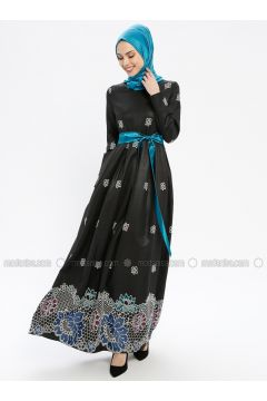 Turquoise - Multi - Fully Lined - Crew neck - Muslim Evening Dress - MissGlamour(110320670)