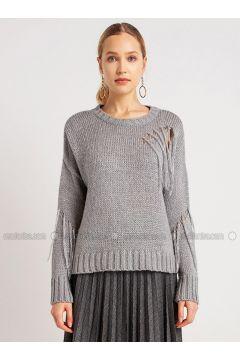 Gray - Crew neck - Viscose - Acrylic -- Knitwear - NG Style(110341271)