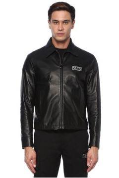 Valentino Erkek VLTN Siyah İngiliz Yaka Deri Mont 46 IT(118330412)