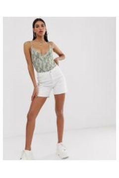 Na-kd - Weiße Shorts mit Bahnendesign - Weiß(93656144)