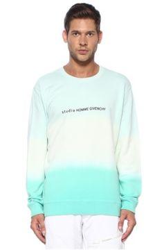 Givenchy Erkek Yeşil Mavi Slogan Detaylı Degradeli Sweatshirt L EU(119785535)