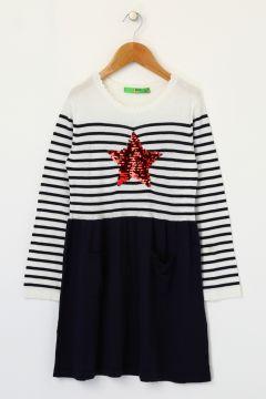 Limon Kız Çocuk Nakışlı Lacivert Elbise(113965632)