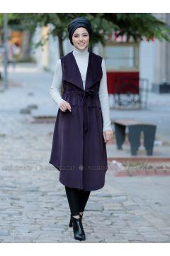 Plum - Fully Lined - Shawl Collar - Vest - DressLife(110332054)
