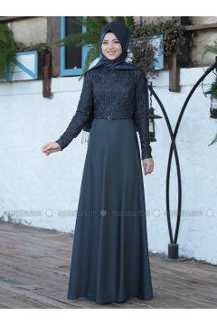 Anthracite - Crew neck - Unlined - Dresses - Al-Marah(110320078)