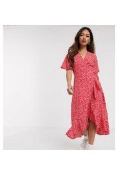 Wednesday\'s Girl - Vestito a portafoglio midi a fiorellini con fondo a volant-Rosso(120328483)