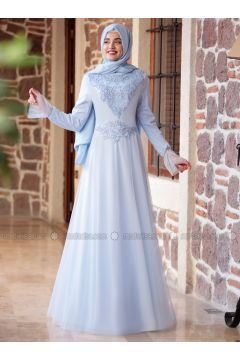 Baby Blue - Fully Lined - Crew neck - Muslim Evening Dress - Piennar(110316743)