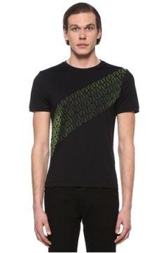 Fendi Erkek Siyah Neon Yeşil Logo Baskılı Basic T-shirt S EU(108809998)