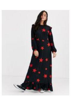 Nobody\'s Child - Vestito lungo con volant sulle spalle e stampa a stelle-Nero(120330296)