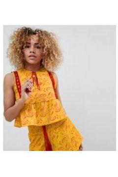 Glamorous Petite - Top stile folk con peplo sul fondo, laccetti con nappe e stampa patchwork in coordinato-Giallo(120381299)