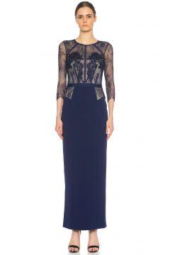 Karen Millen-Karen Millen Dantel Detaylı Midi Lacivert Elbise(115707337)